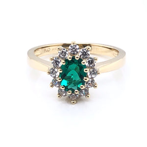 9ct Gold  Created Emerald & CZ Cluster Ring