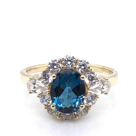 9ct Gold London Blue Topaz & CZ  Oval Cluster Ring