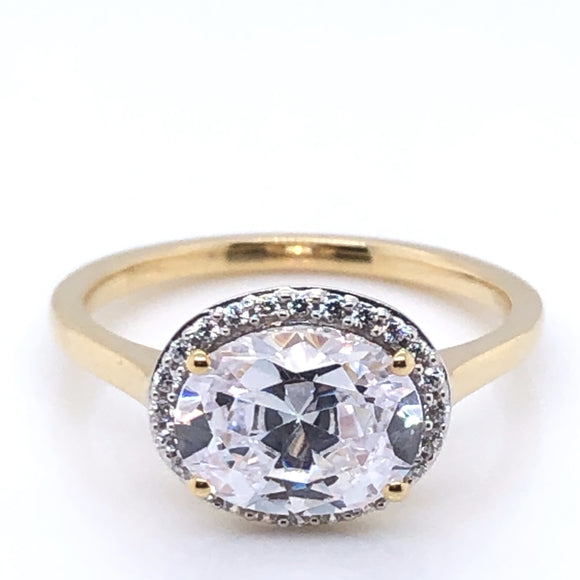 9ct Gold Oval Halo CZ Ring