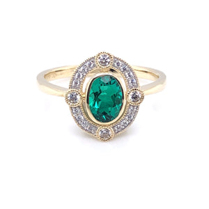 9ct Gold  Created Emerald & CZ Vintage Style Ring