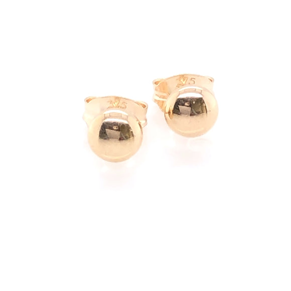 9ct Gold 4mm Bouton Stud Earrings