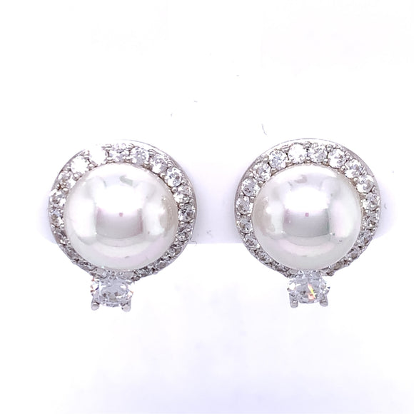 Diamonfire Zirconia & Pearl Bouton Stud Earrings