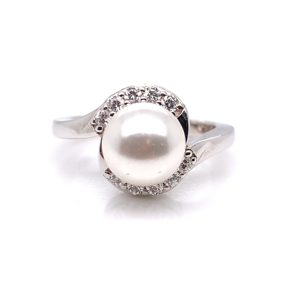 Diamonfire Pearl CZ Twist Ring