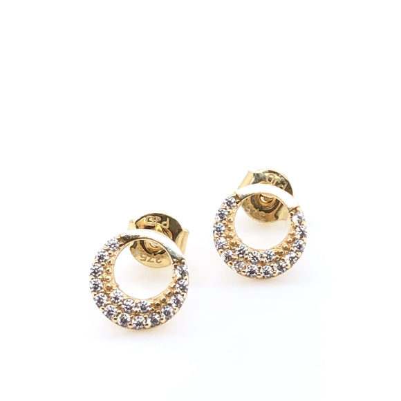 9ct Gold Circle CZ Stud Earrings
