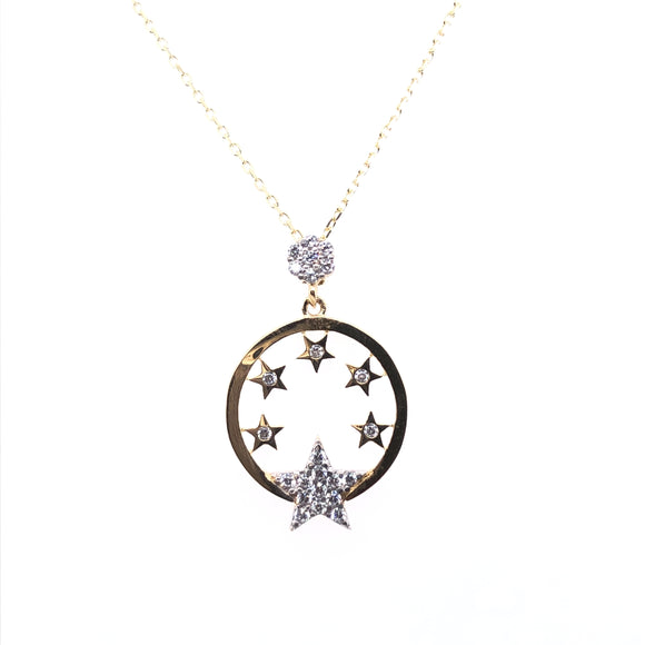 9ct Gold Starry Night CZ Pendant