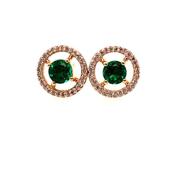 9ct Gold Synthetic Emerald & CZ Floating Halo Earrings