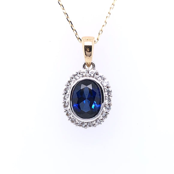 9ct Gold Created Sapphire & White Sapphire Pendant