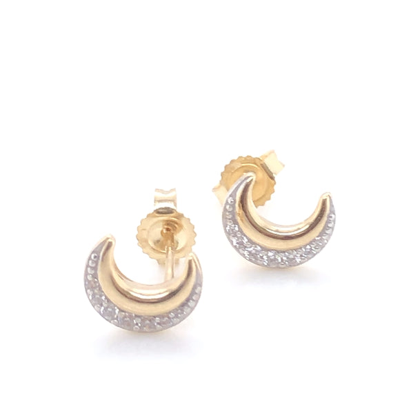 9ct Gold Crescent Moon CZ Stud Earrings