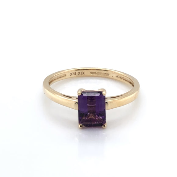 9ct Gold Amethyst Rectangular Ring