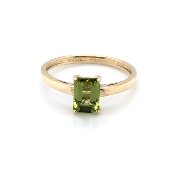 9ct Gold Peridot Rectangular  Ring