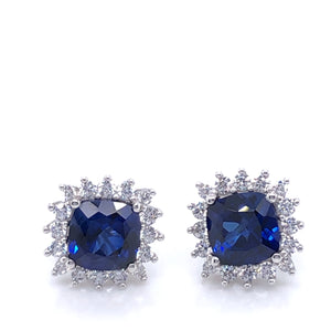 9ct White Gold Created Sapphire & CZ Cushion Cluster Stud Earrings