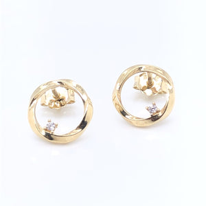 9ct Gold Twisted Circle with CZ Earrings