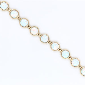 9ct Gold Created Opal  Bracelet