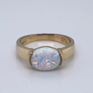 9ct  Gold  Created Opal Ring