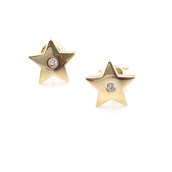9ct Gold Star CZ Stud Earrings
