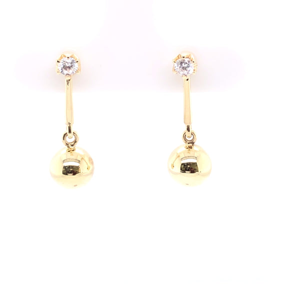 9ct Gold CZ Bar & Ball Drop Earrings