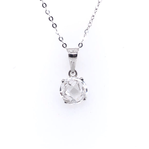 9ct White Gold CZ Four-Claw Faceted Pendant