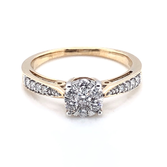 9ct Gold Diamond Illusion Solitaire Ring