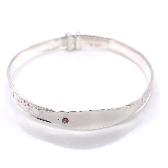 Silver Baby Bangle Claddagh & Celtic Band with Pink CZ