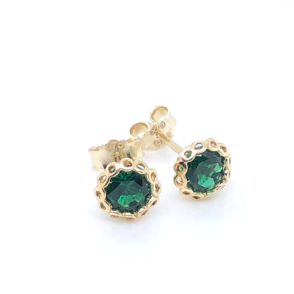 9ct Gold Emerald CZ Vintage Stud Earrings