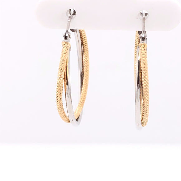 9ct Gold Two-tone Oval Twist Hoop Earrings