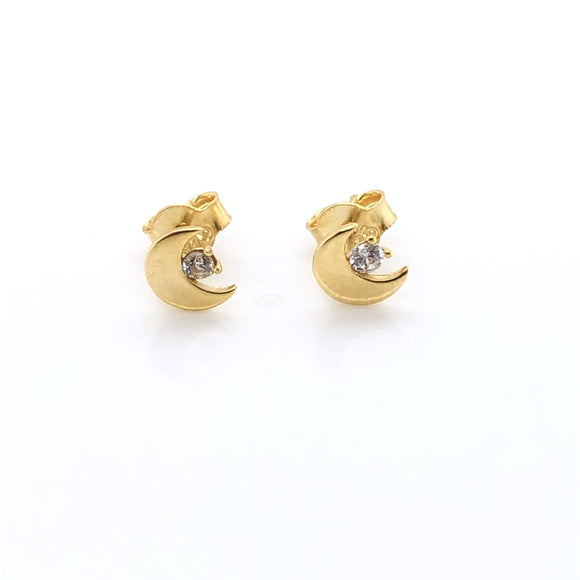 9ct Gold Moon & Star Stud Earrings