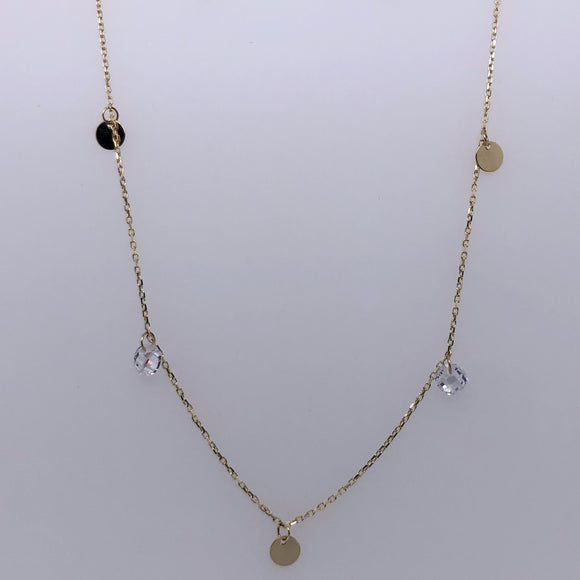 9ct Gold CZ Disc  Necklace