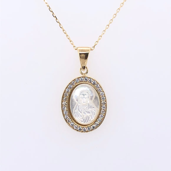 9ct Yellow Gold Mother-of-Pearl Miraculous Medal
