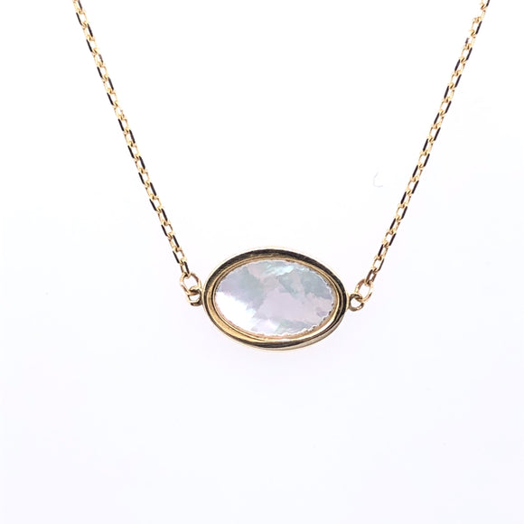 9ct Gold Mother-of-Pearl Oval Pendant