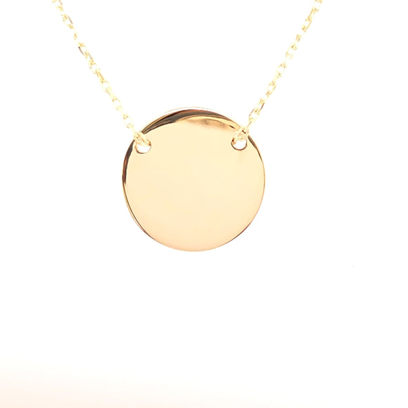 9ct Gold 14mm Disc