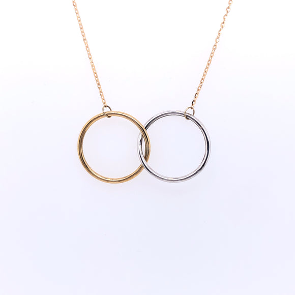 9ct Gold Two-tone Large Interlocking Circles Pendant
