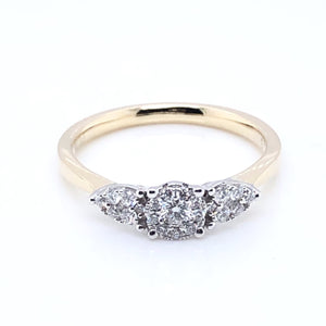 9ct Gold Diamond Trilogy 0.28ct Engagement Ring