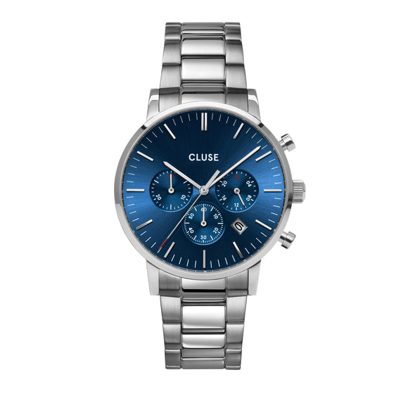 CLUSE Aravis Chrono Steel, Silver, Dark Blue