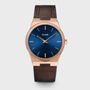 CLUSE Vigoureux Leather, Rose Gold, Dark Brown Croco