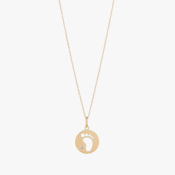 9ct Gold Baby Feet CZ Pendant