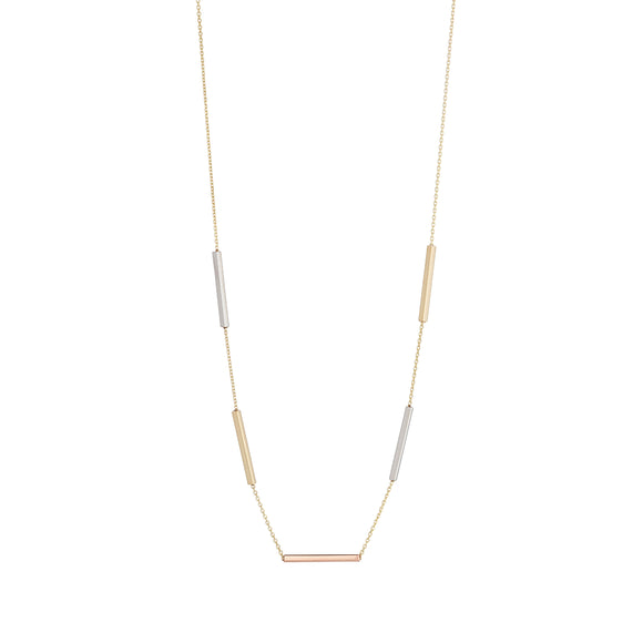 9ct Three Colour Bar Necklet