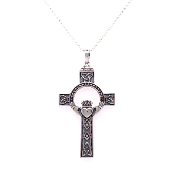 Sterling Silver Large Oxidised Claddagh Celtic Cross
