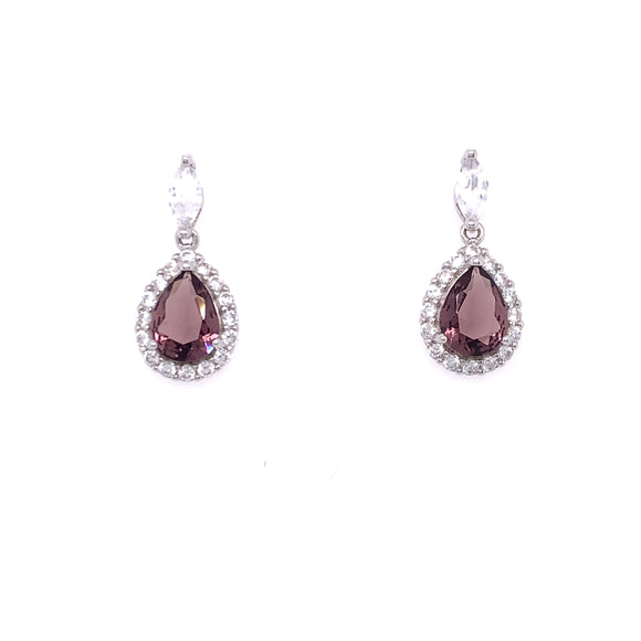 Sterling Silver Amethyst CZ Marquise Halo Teardrop Earrings