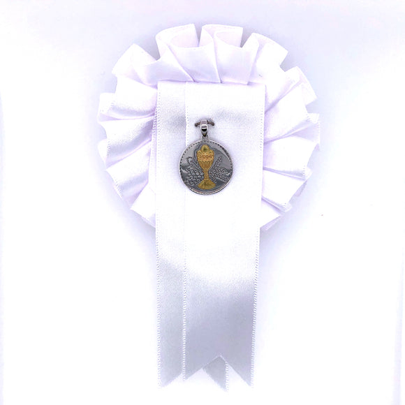 Sterling Silver Round Communion Medal with White Rosette