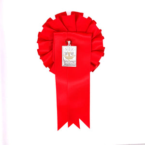 Sterling Silver Rectangular Confirmation Medal with Red Rosette