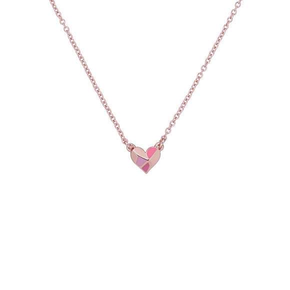 TED BAKER Enamel Heart Pendant Rose Gold