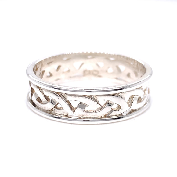 Sterling Silver Mens Woven Celtic Knot  Ring