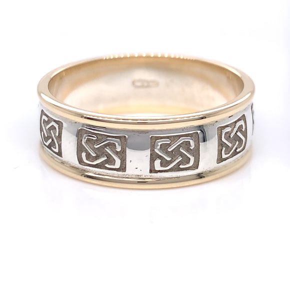 Sterling Silver 10ct Gold Mens Embossed Trinity Knot Ring