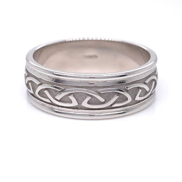 Sterling Silver Mens Raised Celtic Knot Ring