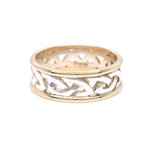 Sterling Silver 10ct Gold Ladies Woven Celtic Knot Ring