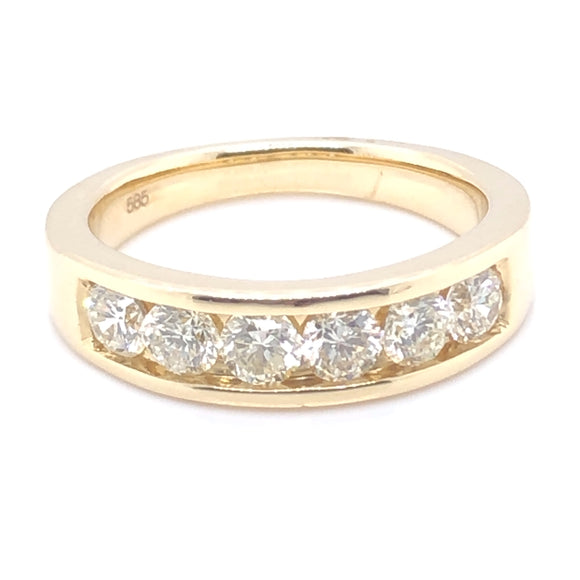 14ct Gold Six Diamond Channel-Set Band 1.00ct