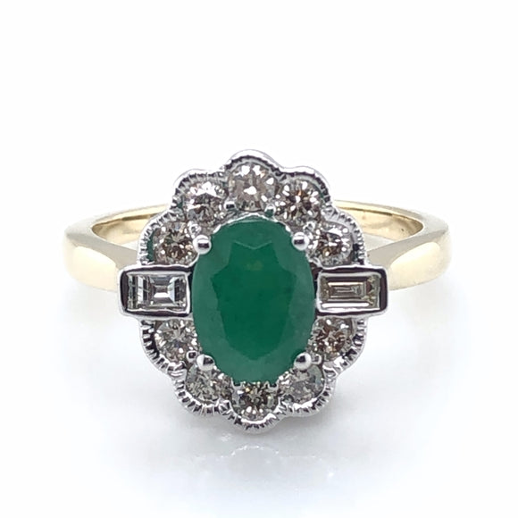9ct Gold Emerald & Diamond 0.50ct Vintage Lace Ring