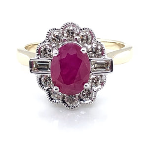 9ct Gold Ruby & Diamond Vintage Lace Ring