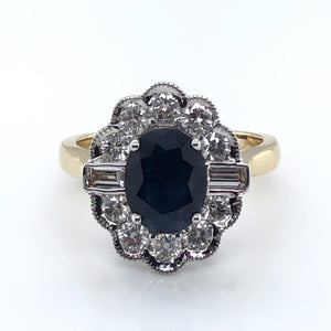 14ct Gold Sapphire & Diamond Vintage Lace Ring