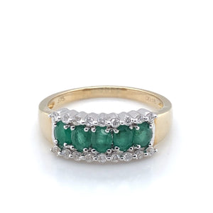 9ct Gold Emerald and Diamond Three Row Ring